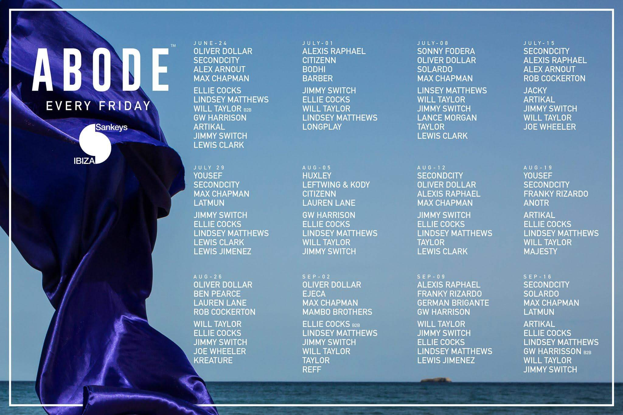 abode announce full line ups for ibiza 2016 t h e music essentials. Black Bedroom Furniture Sets. Home Design Ideas