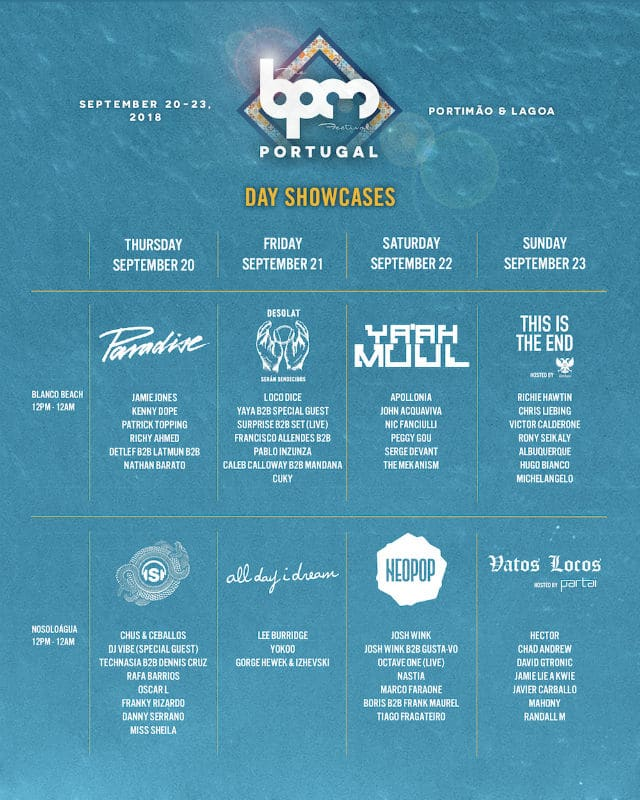 BPM Festival Portugal Schedule