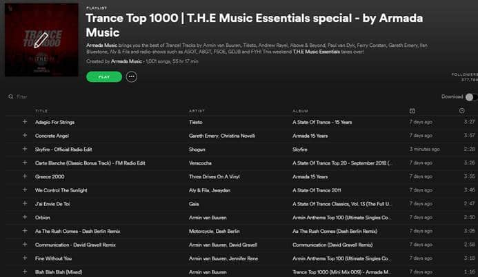 trance top 1000 list