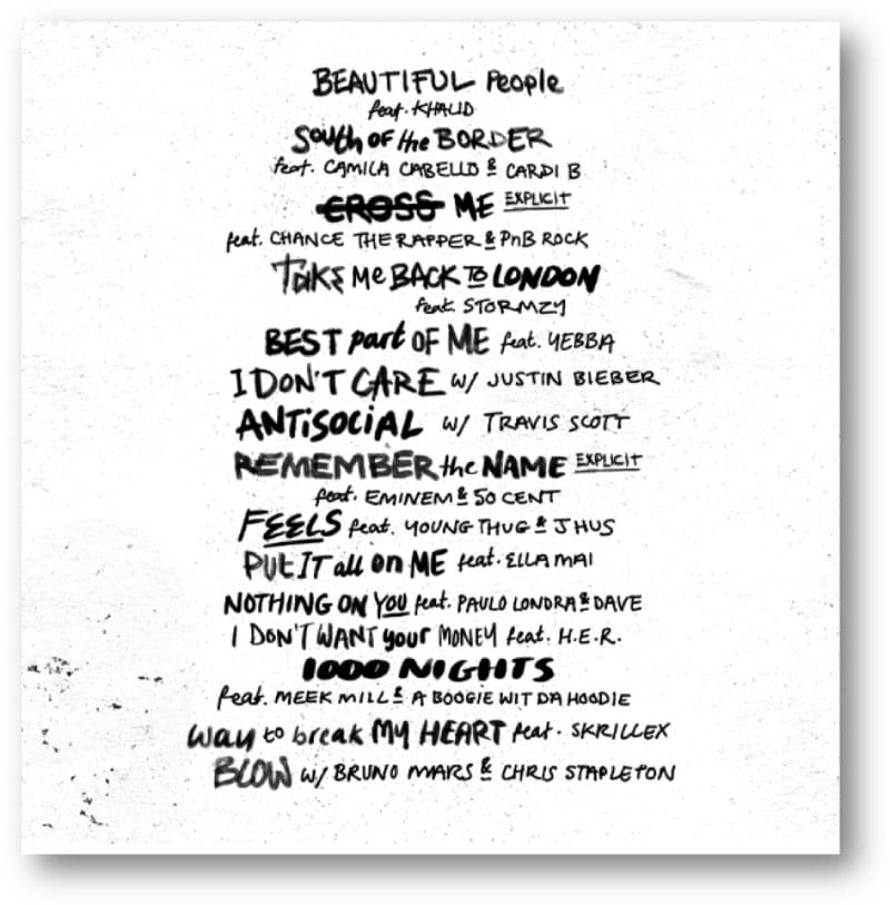 ed sheeran no 6 collaborations project tracklist