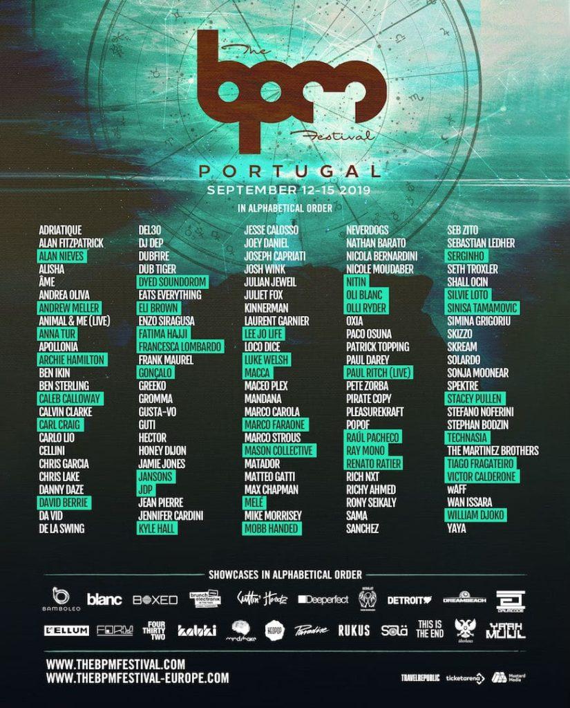 Lineup for bpm festival portugal 2019