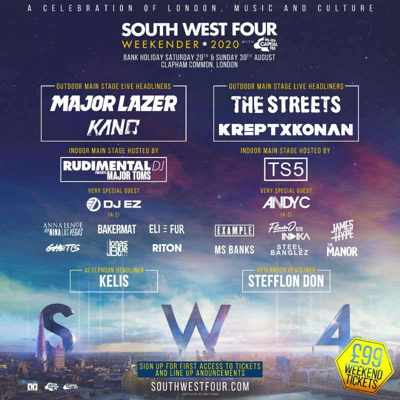 south west four lineup 2020