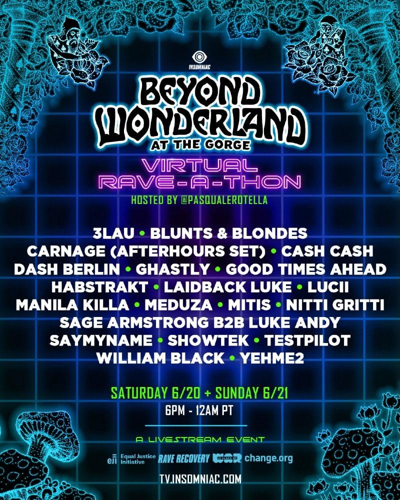 beyond wonderland virtual rave a thon lineup